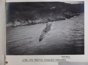 UB 106 being hauled ashore