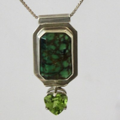 Turquoise, Peridot Pendant and Silver chain Necklace