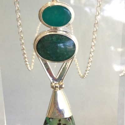 Chrysoprase/Chrysocolla/Agate Pendant with Chain