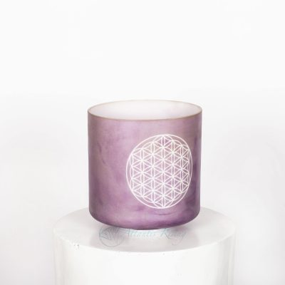 Lavender Sunset Gold w/Etched Flower of Life 8″ G0 – Throat Chakra