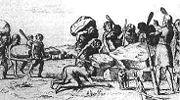Abb. 2 Die Errichtung eines Großsteingrabes durch Riesen (Picardt 1660)