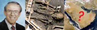 Abb. 6 Dr. Richard Paley (links) kolportierte 2004 in gutem Glauben den 'Riesen-Hoax' über einen angeblichen Skelett-Fund auf der Arabischen Halbinsel (rechts), bei dessen Verbreitung einmal mehr auch IronKites preisgekrönter Photoshop-Riese (Mitte) eine Rolle spielte.