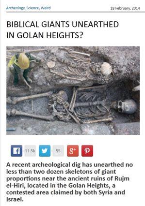 Abb. 2 Der Kopf einer frei erfundenen Riesenfund-Meldung samt gefälschtem 'Beweisfoto', die im Februar 2014 auf der Webseite worldnewsdailyreport.com verbreitet wurde