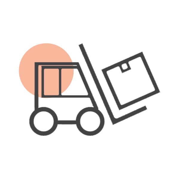 forklift carrying package icon