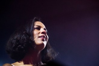 Amanda Sudano of JOHNNYSWIM gazes out at the crown during a lively set at Webster Hall on May 21, 2019 in New York City, NY.