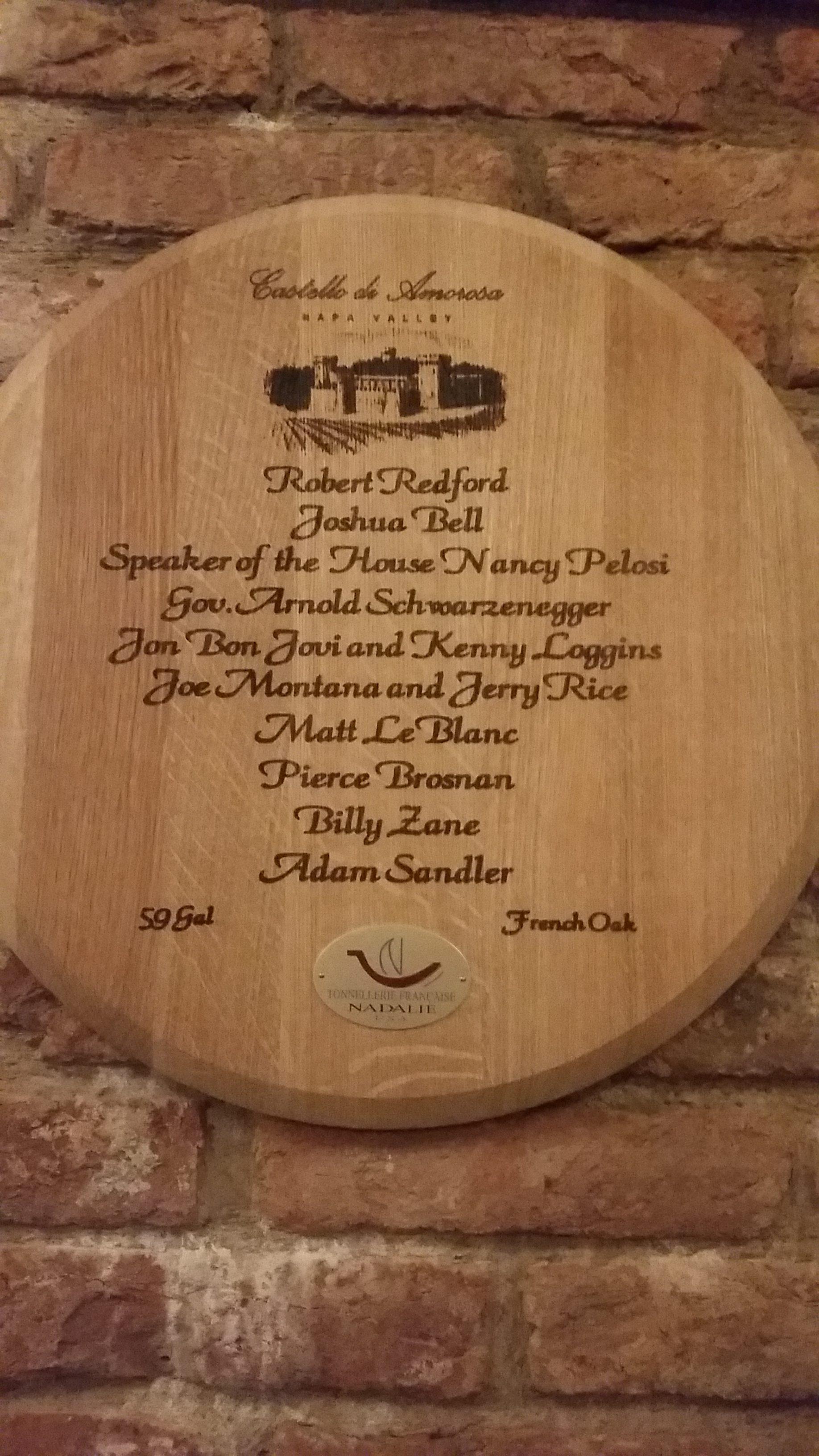 List of high profile members of the Castello di Amorosa wine club