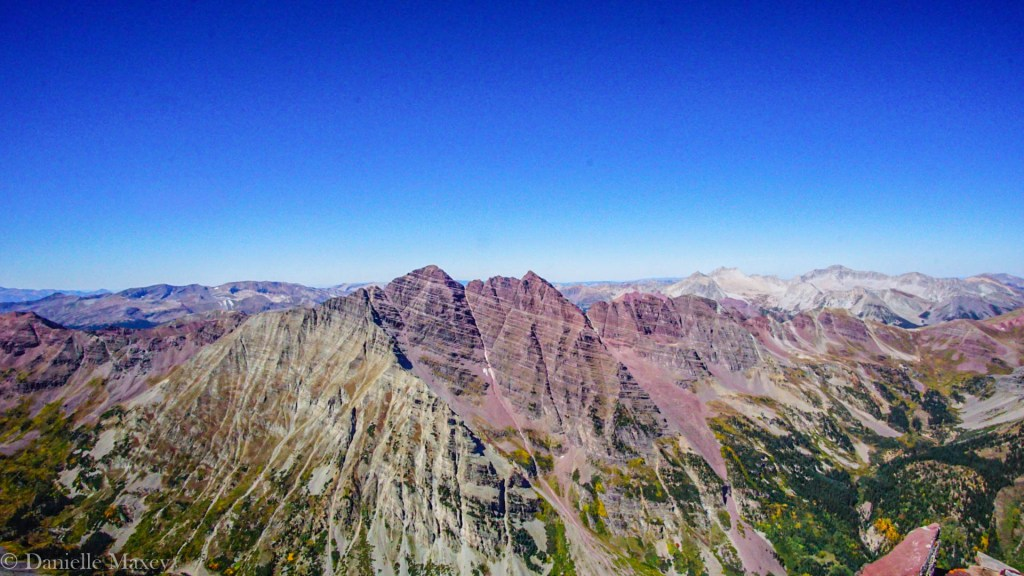 beautiful 14ers in Colorado: Looking over to the Maroon Bells from Pyramid Peak