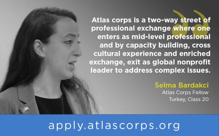 A young women gives a speech for Atlas Corps and is quoted