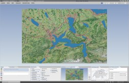 3D Block diagram: Shaded terrain model in combination with satellite image and other layers of the basemap