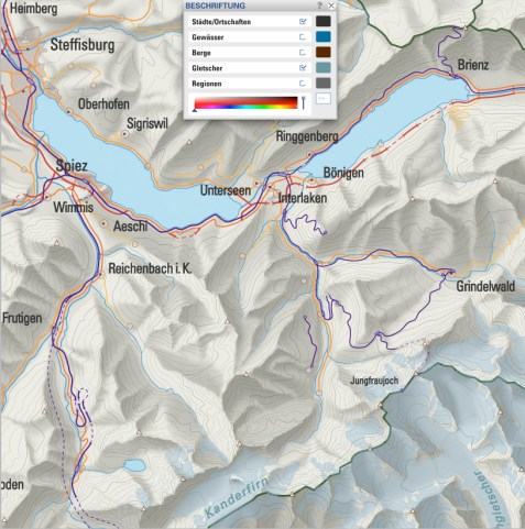 Map Labeling: Names placed correctly in cartographical terms (settlements, glaciers)