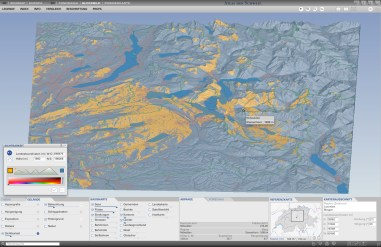 Visibility: Calculation and display of the terrain sections visible from a vieving point