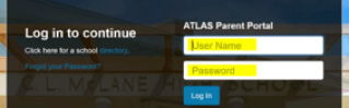 Screenshot of the ATLAS Parent Portal Login Page