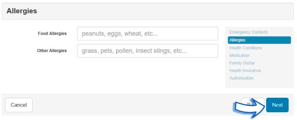 User Interface - Food Allergies