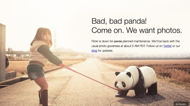 """Child pulling uncooperative panda statue by leash with caption """"Bad, bad panda! Come on. We want photos. Flickr is down for planned maintenance. We'll be back with the usual photo goodness at about 5am PDT. Follow us on Twitter or our blog for updates."""". Screen capture of Flickr maintenance page."""