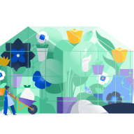 green house filled with giant flowers and small people tending to the garden.