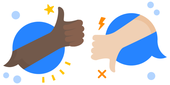 A thumbs up and a thumbs down illustration