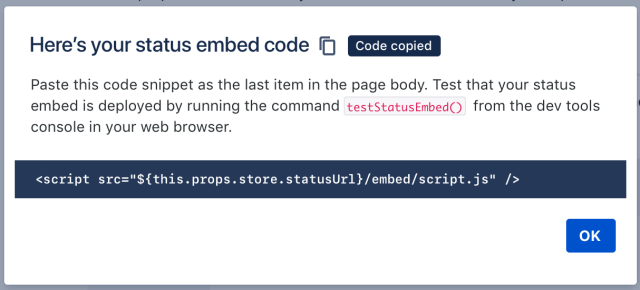 status embed code snippet
