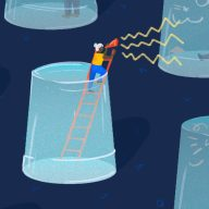 An illustration of people an information stuck in silos