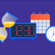 Clocks and calendars conveying how many hours you should work in a day or week