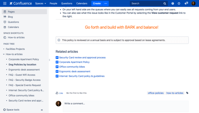 example: labels in Confluence