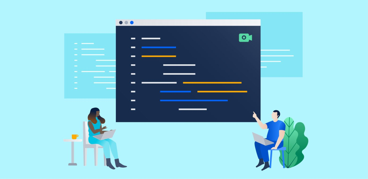 Illustration of two coders sitting far apart, both pointing at a big command terminal window between them