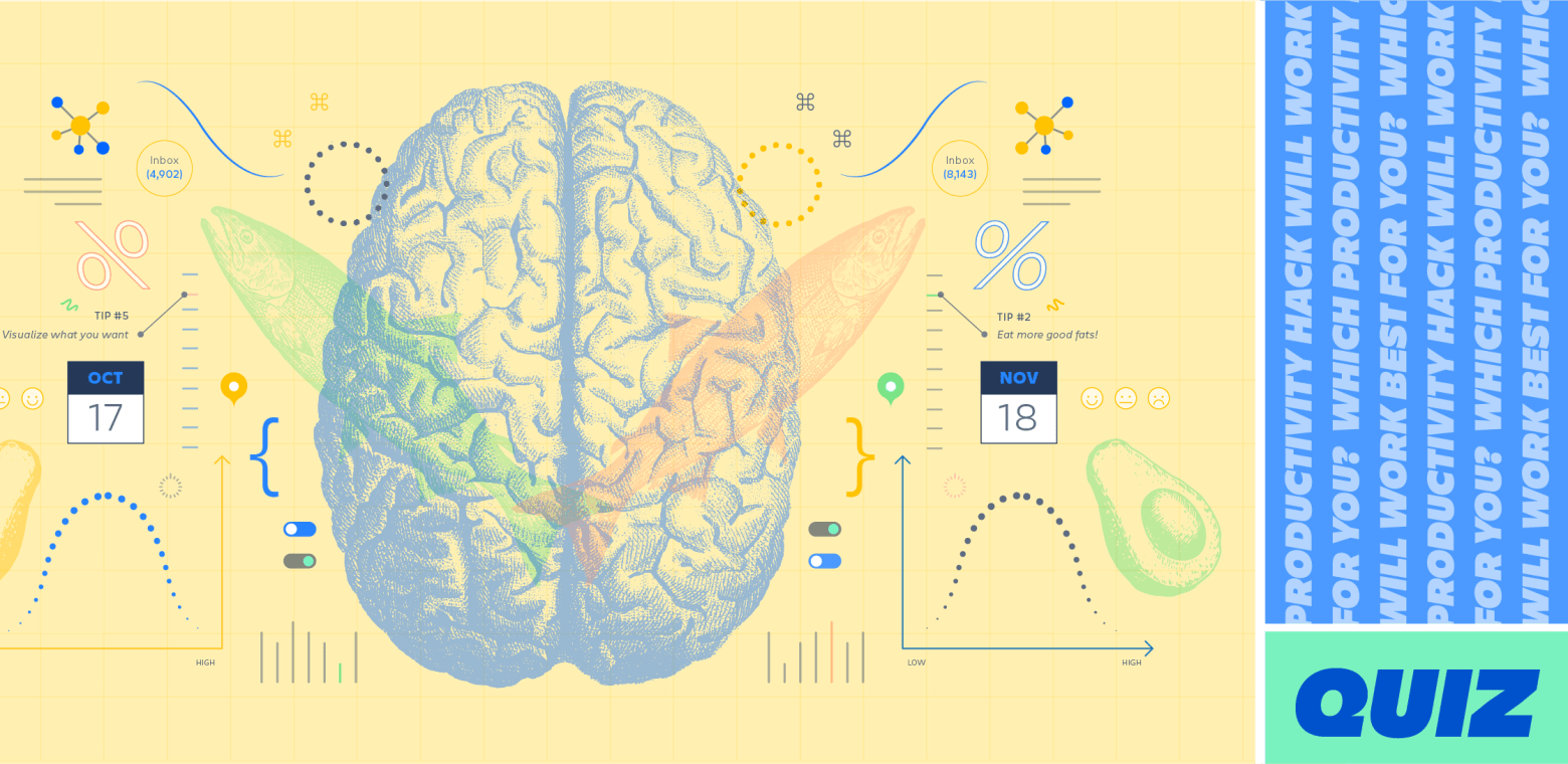 Illustration of a human brain overlaid with sine waves and graphs