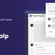 Screenshots of Microsoft Teams and Halp working together