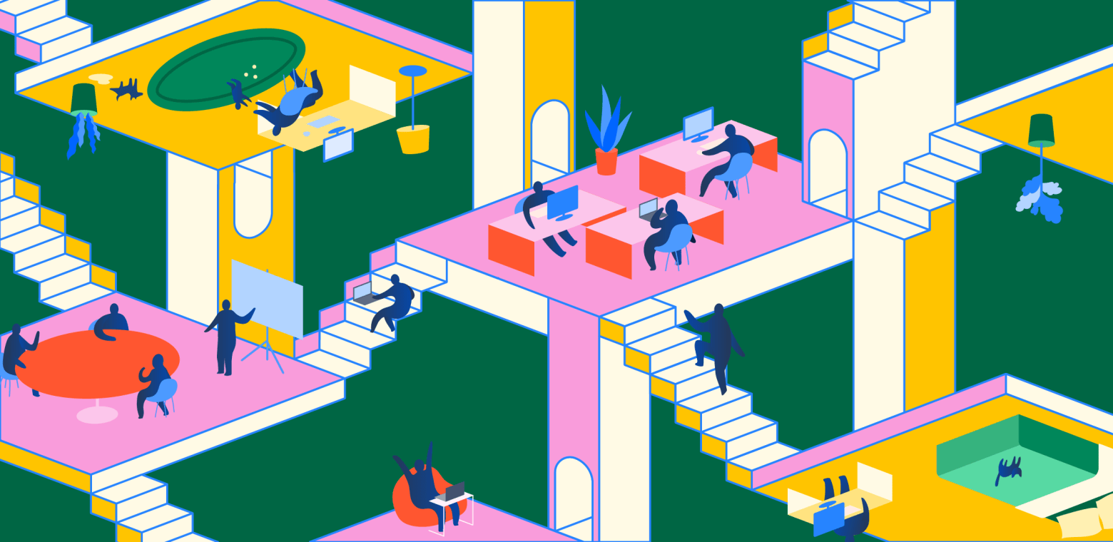 Illustration of a complex network of stairways and platforms where people are shown in various work environments