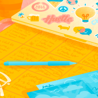 Illustration of a desk calendar and a laptop covered in stickers.