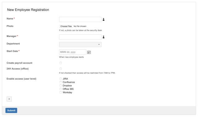 HR form employee registration