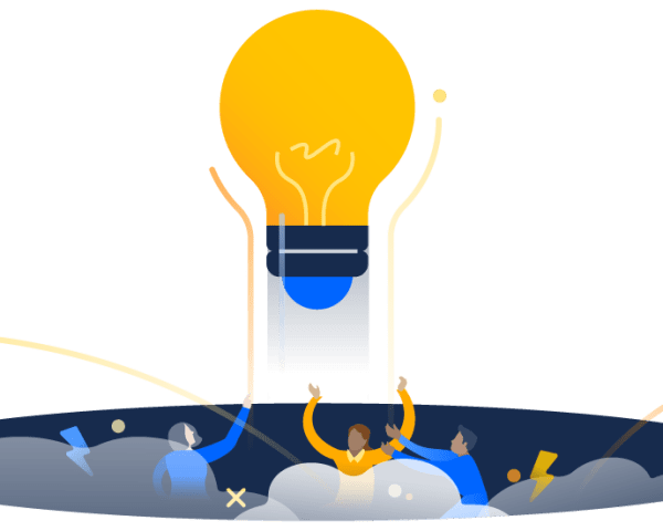 Abstract illustration with coworkers standing around in clouds and reaching up to a light bulb