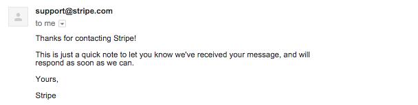 Stripe customer service email