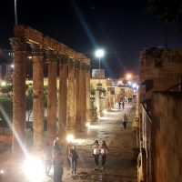 The Colonnaded Street in Amman at Night