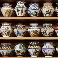 Mosaic Clay Art Jars from Madaba