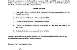 CONVOCATORIA A LA ASAMBLEA GENERAL ORDINARIA FMA