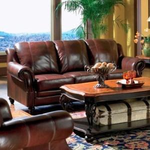 Princeton Rolled Arm Leather Sofa