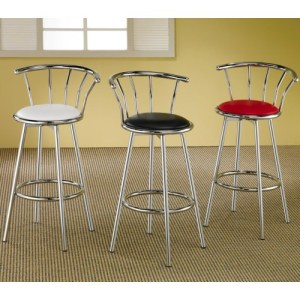 Cleveland Chrome Plated Bar Stool with Upholstered Seat