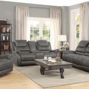 Wyatt Glider Loveseat With Console Grey