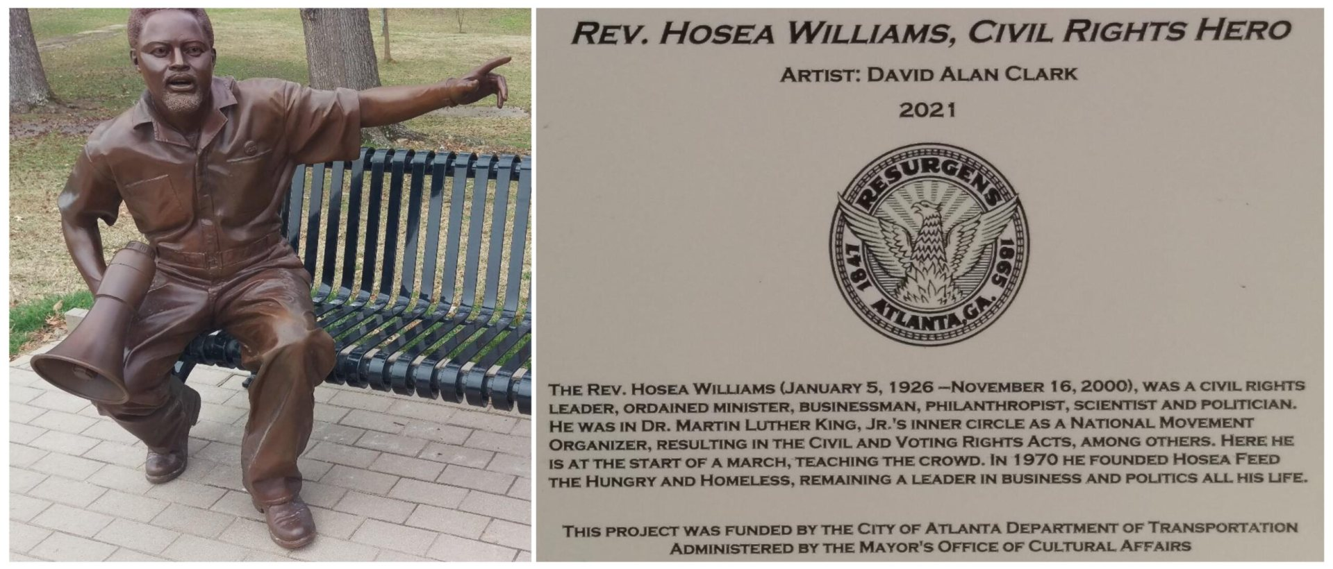 Bronze Art of Reverend Hosea Williams, Photos by John B. Smith, Jr.