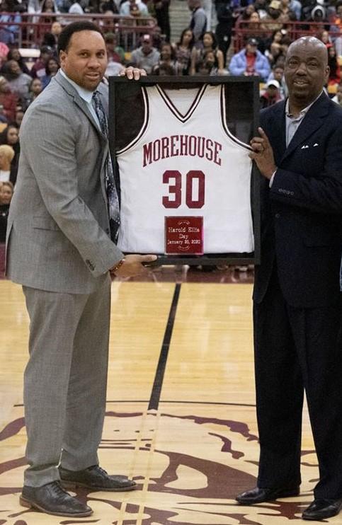 Morehouse Coach Grady Brewer, Harold Ellis Jersey Retired, Photo Credit: Oscar Daniels.