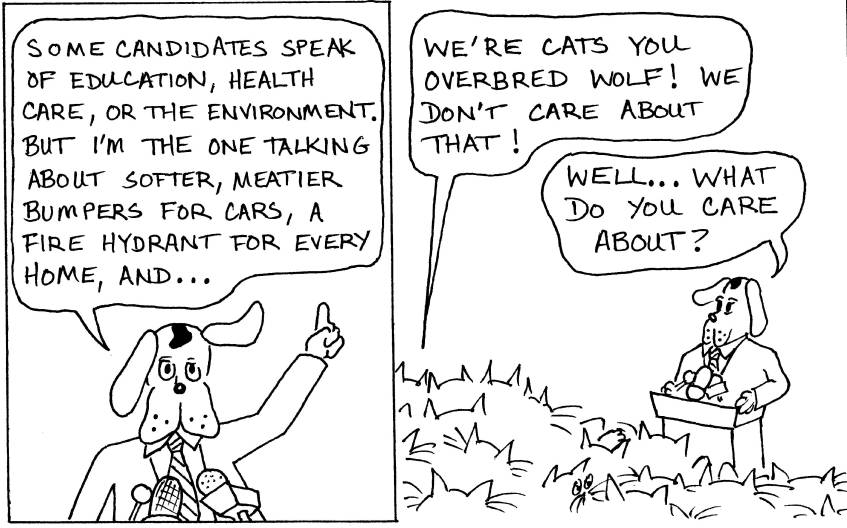 Dog makes political speech to cats.910