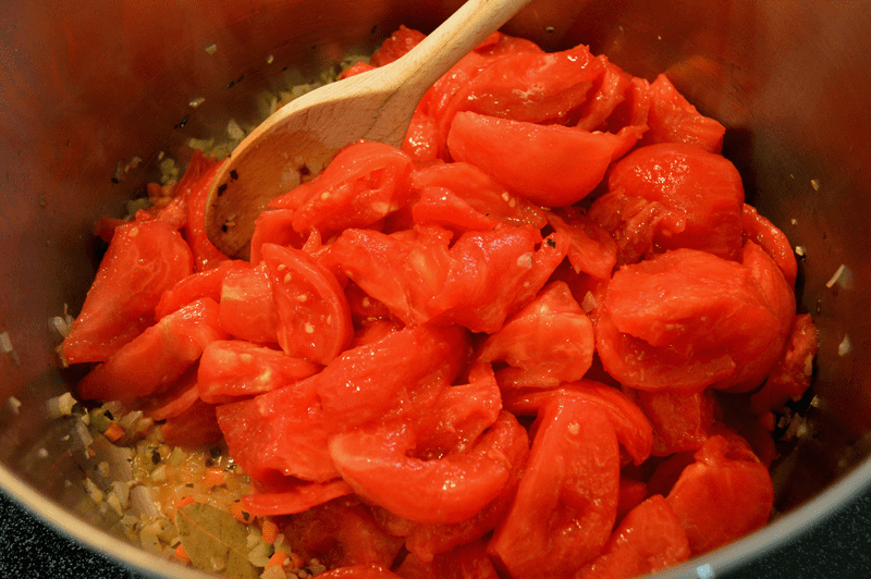 grannie geek, tomatoes, vegetables, and spices for marinara