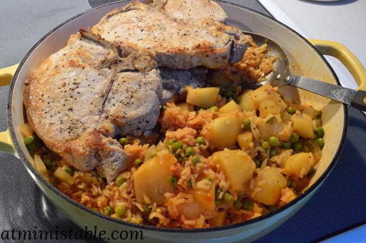 at mimi's table retro pork chops, Spanish rice, peas & potatoes