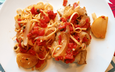 Pan Seared Cod with Tomatoes, Onions & Capers