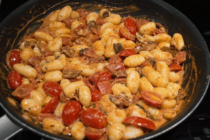 at mimi's table baked gnocchi with bacon, tomato and mozzarella