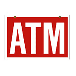 ATM 22×32 Red Hanging Sign