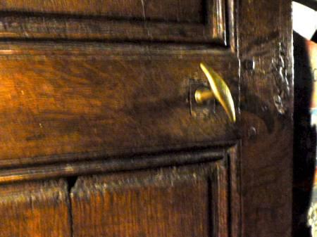 Old wooden door latch room