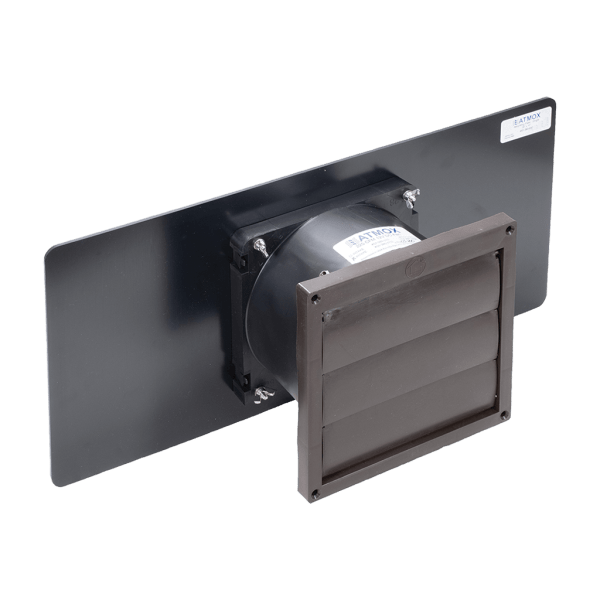 Internally mounted ATMOX louvered intake fan for crawl spaces