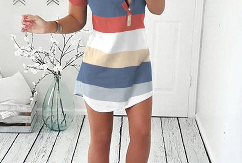 Robe chemise boutonnée à manches courtes et à rayures multicolores