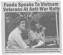 This digital composite of Sen. John Kerry and Jane Fonda sharing a stage at an antiwar rally emerged during the 2004 presidential primaries while Kerry campaigned for the Democratic nomination. The picture of Kerry was captured by photographer Ken Light as Kerry was preparing to give a speech at the Register for Peace Rally held in Mineola, N.Y., in June 1971. The picture of Jane Fonda was captured by Owen Franken as Fonda spoke at a political rally in Miami Beach, Fla., in August 1972. http://www.cnet.com/pictures/pictures-that-lie-photos/